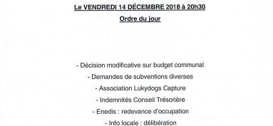 Réunion du Conseil municipal – Vendredi 14 décembre 2018